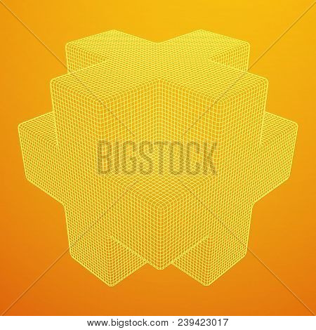 Wireframe Necker Cube. Cube of connected lines. Molecular lattice. The structural grid of polygons. Vector illustration sacred geometry stock photo