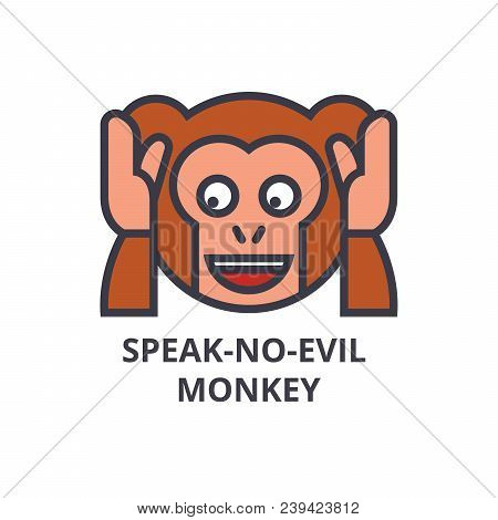 speak no evil emoji vector line icon, sign, illustration on white background, editable strokes stock photo