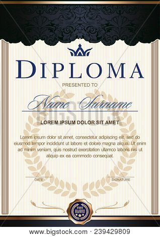 diploma vertical in the Royal style Vintage, Rococo, Baroque. Decorated with classic floral ornament, columns, flouris, crown. Blue black c gold color scheme stock photo