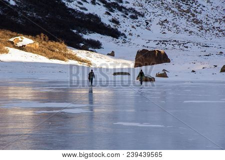 Refugio Frey Hike Mountain and frozen lake; Bariloche - Argentina stock photo