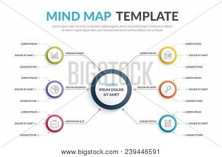 Absrtact mind map template, business infographics, vector eps10 illustration stock photo