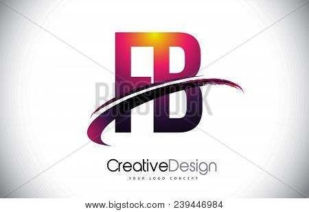 FB F B Purple Letter Logo with Swoosh Design. Creative Magenta Modern Letters Vector Logo Illustration. stock photo