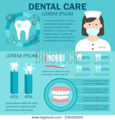 Dental care infographic set with factors provoking teeth diseases dentist denture statistics of ultrasonic cleaning and teeth whitening symbols vector. Isolated on blue backfgound. Place for text stock photo