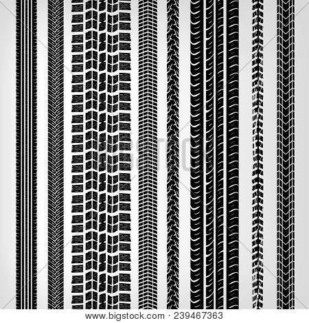 Motorcycle and motor tire tracks vector illustration. Seamless automotive brushes useful for poster, print, flyer, book, booklet, brochure and leaflet design. Editable graphic image in black color. stock photo