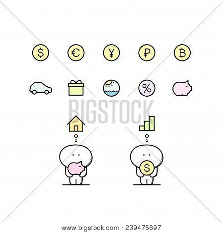 Funny cute man with piggy bank, dollar, euro, yen, ruble, bitcoin, house, graph, car and others symbols. Money and currency, loan and credit, finance and investment cartoon vector illustration. stock photo