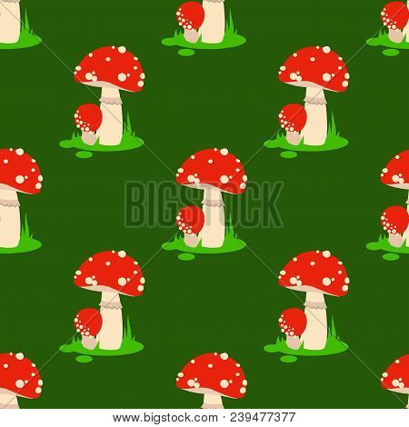 Seamless pattern amanita mushrooms set vector poisonous season toxic fungus food cartoon muscaria, toadstool background. Dangerous plant spotted fungi forest illustration. stock photo