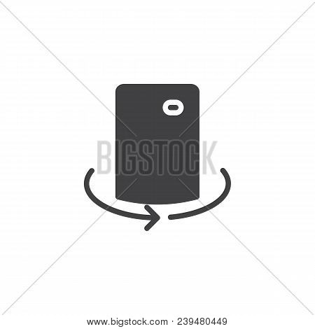 Mobile camera rotate vector icon. filled flat sign for mobile concept and web design. Cell Phone 360 degrees simple solid icon. Symbol, logo illustration. Pixel perfect vector graphics stock photo