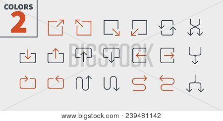 Arrows UI Pixel Perfect Well-crafted Vector Thin Line Icons 48x48 Ready for 24x24 Grid for Web Graphics and Apps with Editable Stroke. Simple Minimal Pictogram Part 5-5 stock photo