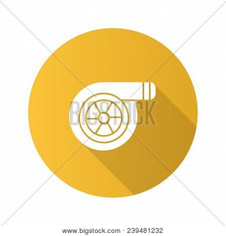 Turbocharger flat design long shadow glyph icon. Colloquially turbo. Vector silhouette illustration stock photo