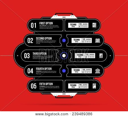 Hi-tech template with five options in black and red techno style on flat vibrant background stock photo