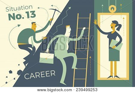 Business infographics, business situations. Career ladder, service Elevator, workers strive upward, achievement goal, career, professional growth. The way up through the ranks. Business people. Vector illustration of flat design.  Template for your presen stock photo