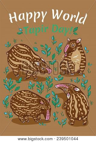 Happy World Tapir Day. Tapir lovers card. Brown tapirs with light stripes in the plants. stock photo