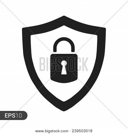 Abstract Security Vector Icon Illustration Isolated On Black Background. Shield Security Icon. Lock
