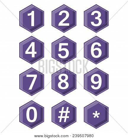Artistic number set on ultraviolet hexagonal buttons. Hash tag and star symbole included. Buttons with 3d effect. Vector EPS 10 stock photo