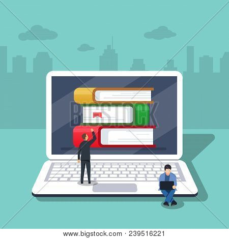 Flat cartoon pc with books, concept of ebook library, digital online study, icon isolated image. Vector illustration. Little people are working on the background of laptop stock photo