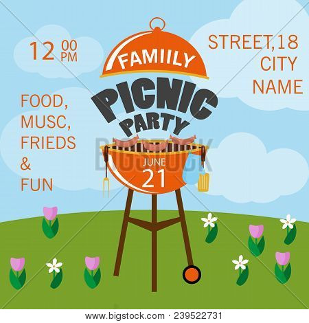 Lovely vector barbecue party invitation design template set. Trendy BBQ cookout poster design with classic charcoal grill and sample text. Vector illustration flat design. Grill picnic template. stock photo