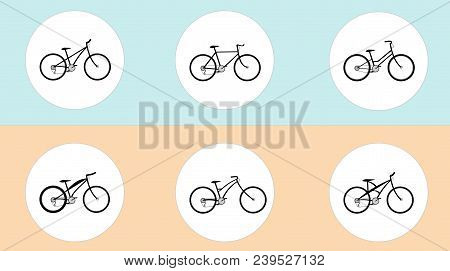 Vector set of bicycles in flat style. Guide of bike types. Poster with road bike, mountain bike, BMX, city and some fictional bike. Blue-orange background. stock photo
