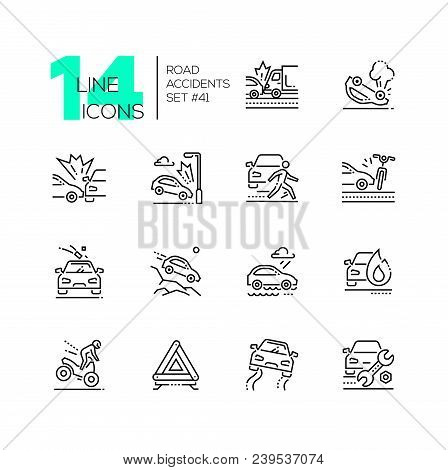 Road accidents - set of line design style icons isolated on white background. High quality minimalistic black pictograms. Car crash, bad weather conditions, motorbike, breakdown, gravel stock photo