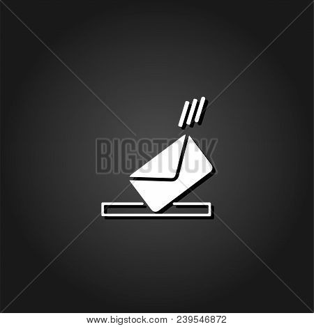 Mailbox icon flat. Simple White pictogram on black background with shadow. Vector illustration symbol stock photo