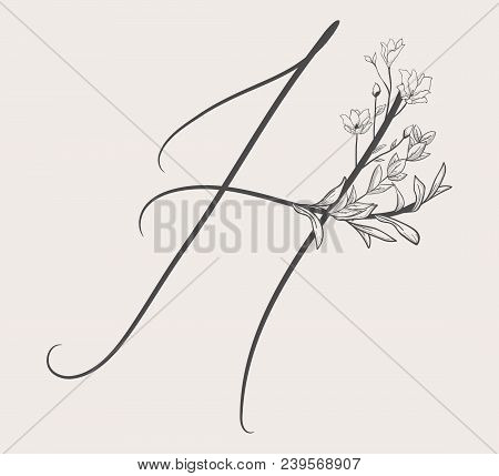 Vector Hand Drawn Flowered H monogram or logo. Uppercase Letter H with Flowers and Branches. Handwritten Monogram Letter. Floral Design stock photo