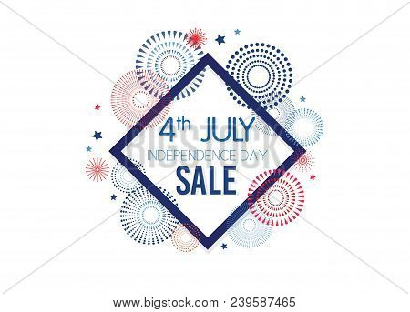 4th of July Exclusive Offers Sale, Sale Poster, Sale Banner, Sale Flyer, Extra Discount Offer, Online Sale. Vector illustrationn. stock photo