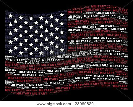 Military text items are grouped into waving USA flag stylization on a dark background. Vector concept of USA state flag is made from military text items. stock photo