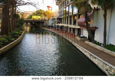 Colorful view of the San Antonio Riverwalk stock photo