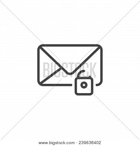 Unlock email outline icon. linear style sign for mobile concept and web design. Envelope with unlocked padlock simple line vector icon. Symbol, logo illustration. Pixel perfect vector graphics stock photo