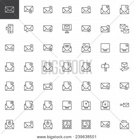 Email and message outline icons set. linear style symbols collection, line signs pack. vector graphics. Set includes icons as envelope, inbox and outbox messages, Postage Stamp, secure mail, mailbox stock photo