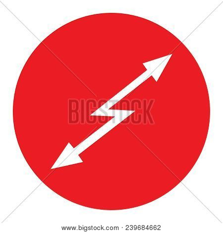 sign attention hazard Red round icon with white arrow lightning inside with a direction up and down on whire background Attention tension symbol icon emblem pictogram Vector isolated illustration. stock photo