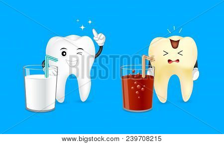 Healthy cartoon tooth with a glass of milk and decayed tooth with a soda. Dental care concept. Good and bad drinks for your teeth. Illustration isolated on blue background stock photo