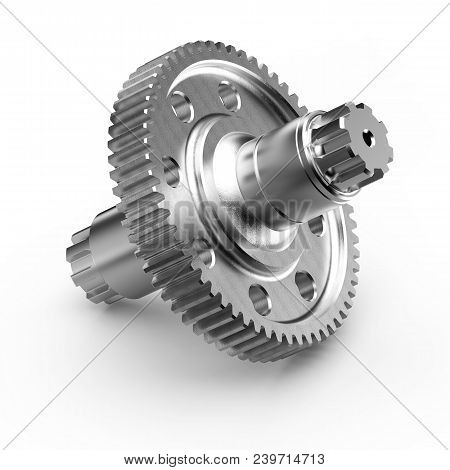 Gear shaft gearbox on white background, 3D rendering. stock photo