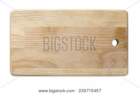 Wooden cutting board isolated on white background, natural textured wood with scretches, top view stock photo