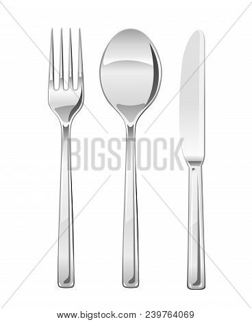 Fork, spoon, knife. Set of utensils for eating. Food dishes. Stainless tableware. Kitchen equipment. Cooking tools. Serving. Isolated white background. EPS10 vector illustration. stock photo