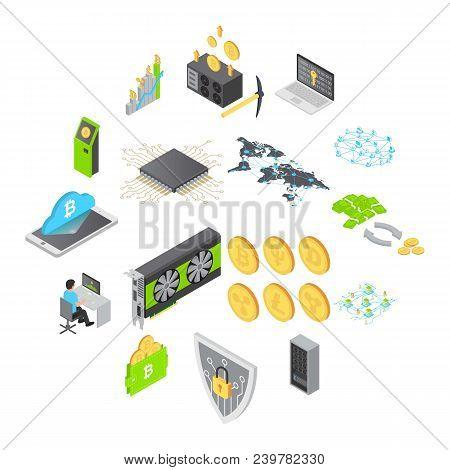 Blockchain technology icons set. Isometric illustration of 16 blockchain technology vector icons for web stock photo