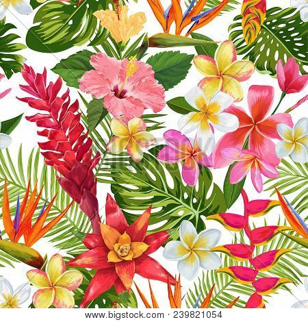 Watercolor Tropical Flowers And Palm Leaves Seamless Pattern. Floral Hand Drawn Background. Exotic B