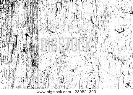 Wooden dry planks distressed overlay texture with knot. Grunge old wood black cover template. Weathered rural grainy timber backdrop. Aged dried board creative element. EPS10 vector. stock photo