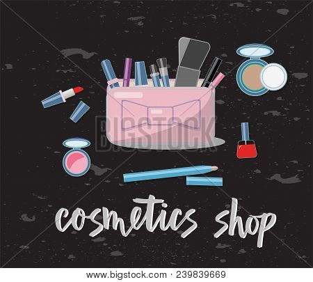 Vector illustration of cosmetics product. With text cosmetics shop. Cosmetics product. As template of background, postcard, bisness card, print, logo, for cosmetics shop. Flat drawing for journal. stock photo