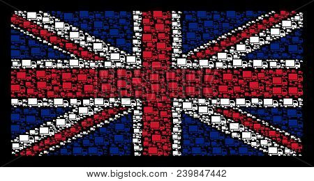 United Kingdom State Flag concept designed of delivery lorry design elements on a dark background. Vector delivery lorry icons are combined into mosaic UK flag illustration. stock photo