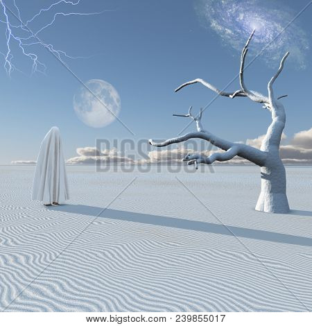 Figure in white hijab stands in surreal white desert. 3D rendering stock photo