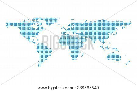 Blue earth dot map on white isolated background. Technology and Global communication concept. Technology and Business theme. stock photo
