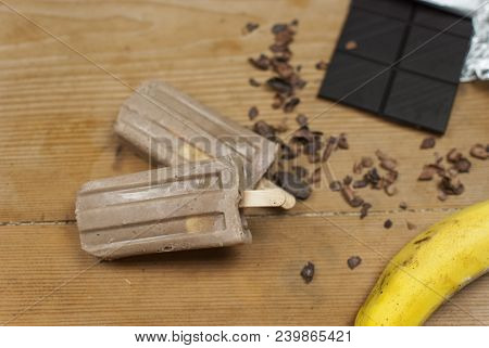 Ice cream stick  Banana & Choccolate. Homemade.Tasty. stock photo