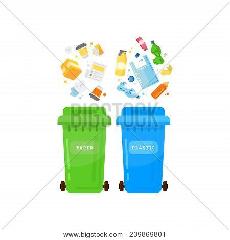 Trash sorting.Recycling garbage elements trash bags tires stock photo