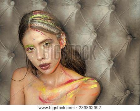 Beauty, fashion look Beauty makeup visage. Macke up stock photo