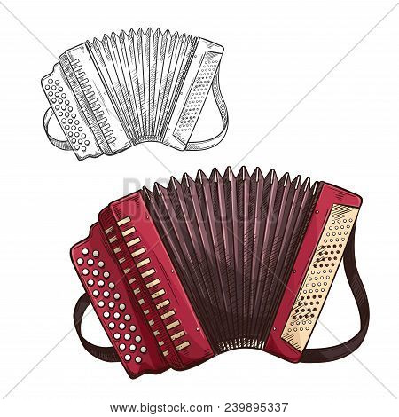 Button accordion musical instrument color sketch icon. Vector isolated harmonica symbol for folk music concert or jazz band live festival and orchestra musical performance design stock photo