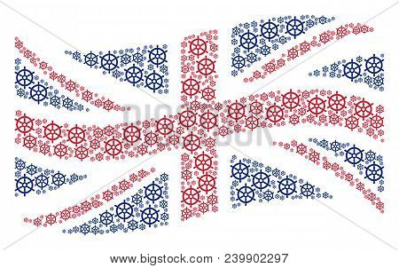 Waving UK official flag concept composed of boat steering wheel elements. Vector boat steering wheel pictograms are composed into mosaic Great Britain flag abstraction. stock photo