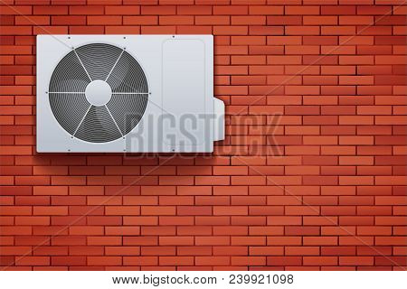 Classic Split air conditioner house system. Externally fitted unit on brick wall. Evaporation cooler with heat pump system. Vector Illustration stock photo