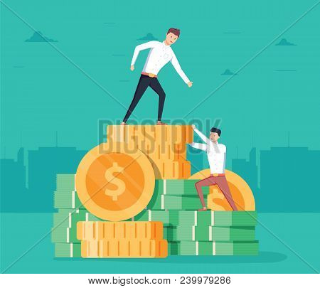 Pay rise business vector concept. Career ladder climbing, salary increase symbol with businessman climbing. Eps10 vector illustration. Businessman increases the salary. Up to goal destination stock photo