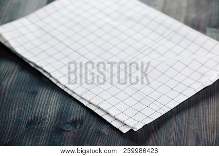 Napkin on table in perspective. Napkin close up top view mock up for design. Place for text stock photo