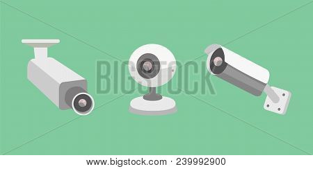 Vector set security camera. CCTV cartoon illustration. Safety and watching stock photo
